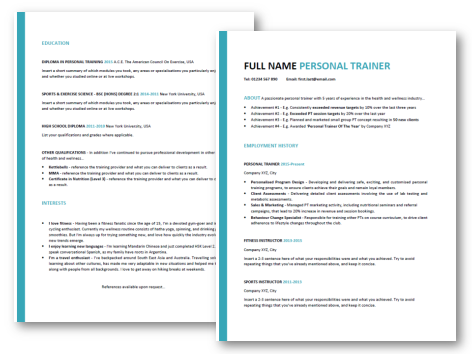 Personal-Trainer-Resume-Template